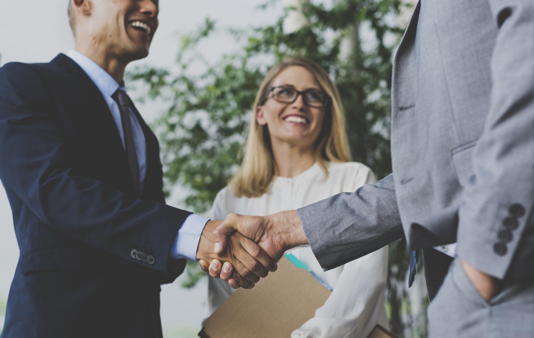 Men Women Business Agreement Hands Shake